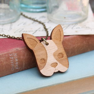 Wooden French Bulldog Necklace - necklaces & pendants