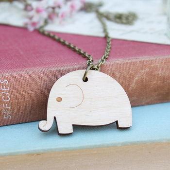 Wooden Elephant Necklace