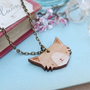 Wooden Cat Necklace - women's jewellery