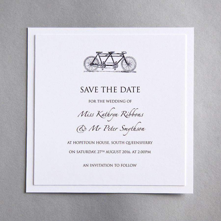Tandem Bicycle Wedding Invitation Save The Date