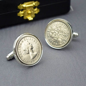 Hallmarked Silver Lucky Sixpence Cufflinks - anniversary gifts