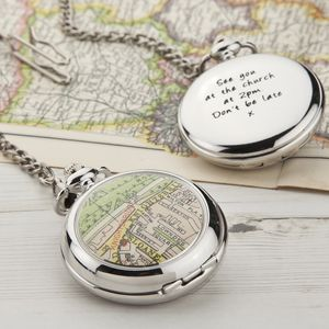 Map Personalised Pocket Watch Clock - for your other half