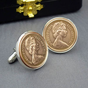 Hallmarked Silver Lucky Penny Cufflinks - men's jewellery