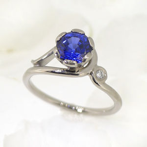 Blue Sapphire And Diamond Ring In 18ct Gold - gemstones