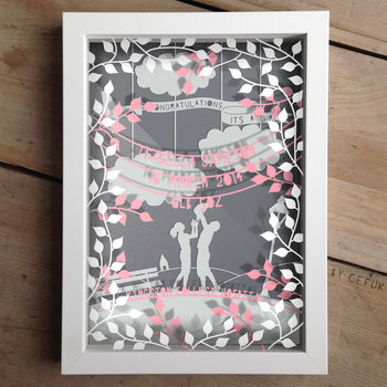 Personalised Baby Girl Triple Layered Papercut