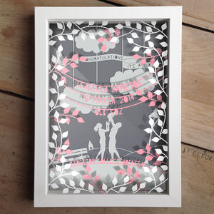 Personalised Baby Girl Triple Layered Papercut - mixed media pictures for children