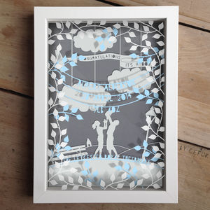 Personalised Baby Boy Triple Layered Papercut - gifts for babies