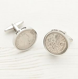 Sixpence Date Coin Cufflinks - last-minute christmas gifts for him