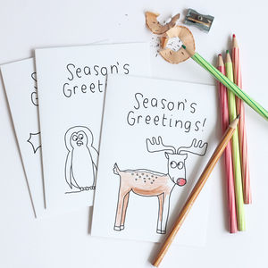 Kids Colour Christmas Card Set
