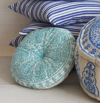 Souk Embroidered Cushion Round, Turquoise