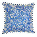 Souk Embroidered Cushion, Square, Blue