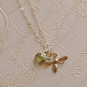 Bee And Birthstone Gold Necklace