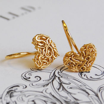 Golden Mesh Heart Earrings