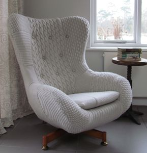 'Bevis' Patchwork Knit Chair - armchairs