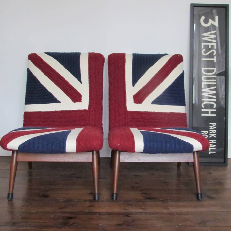 vintage 50 s chairs in union jack knit by melanie porter