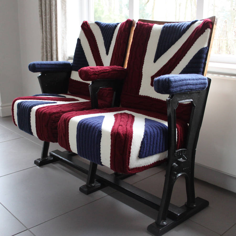 Vintage Cinema Seats In Union Jack Knit - kitchen