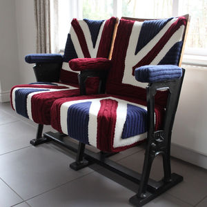 'Burton' Vintage Cinema Seats In Union Jack Knit - office & study