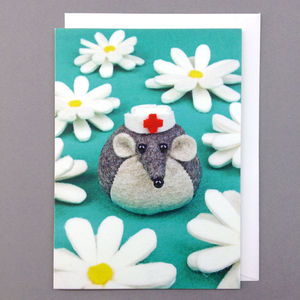Felt Mouse Get Well Soon Greeting Card - get well soon cards