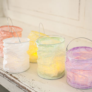 Set Of Five Pastel Lanterns With LED Tea Lights - candles & candle holders