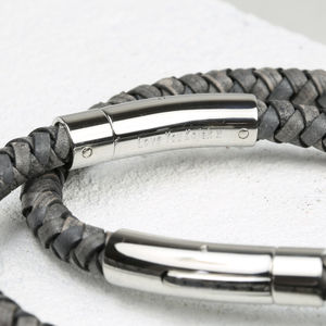 Engraved Men's Antique Slate Leather Bracelet Shiny - women's jewellery sale
