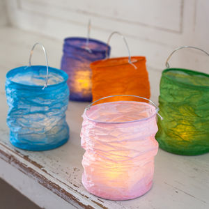 Set Of Five Zesty Lanterns With LED Tea Lights