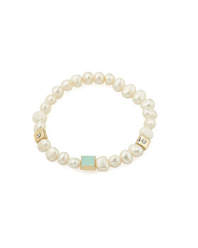 Pearl Bracelet With Turquoise Charm