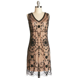 Vintage Inspired Dress. Hand Beaded With Nude Lining - dresses