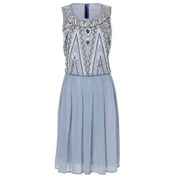 Beaded Bodice Party Dress In Powder Blue