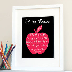 Thank You Teacher Personalised Apple Print - posters & prints