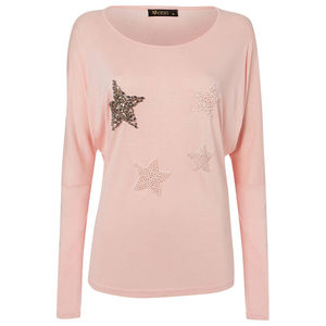 Star Encrusted Pale Pink Viscose Jersey T Shirt - tops & t-shirts
