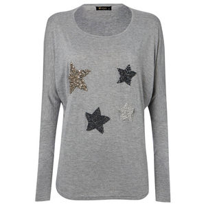Star Encrusted Beaded Long Sleeve T Shirt Grey Marl - christmas jumpers & t shirts