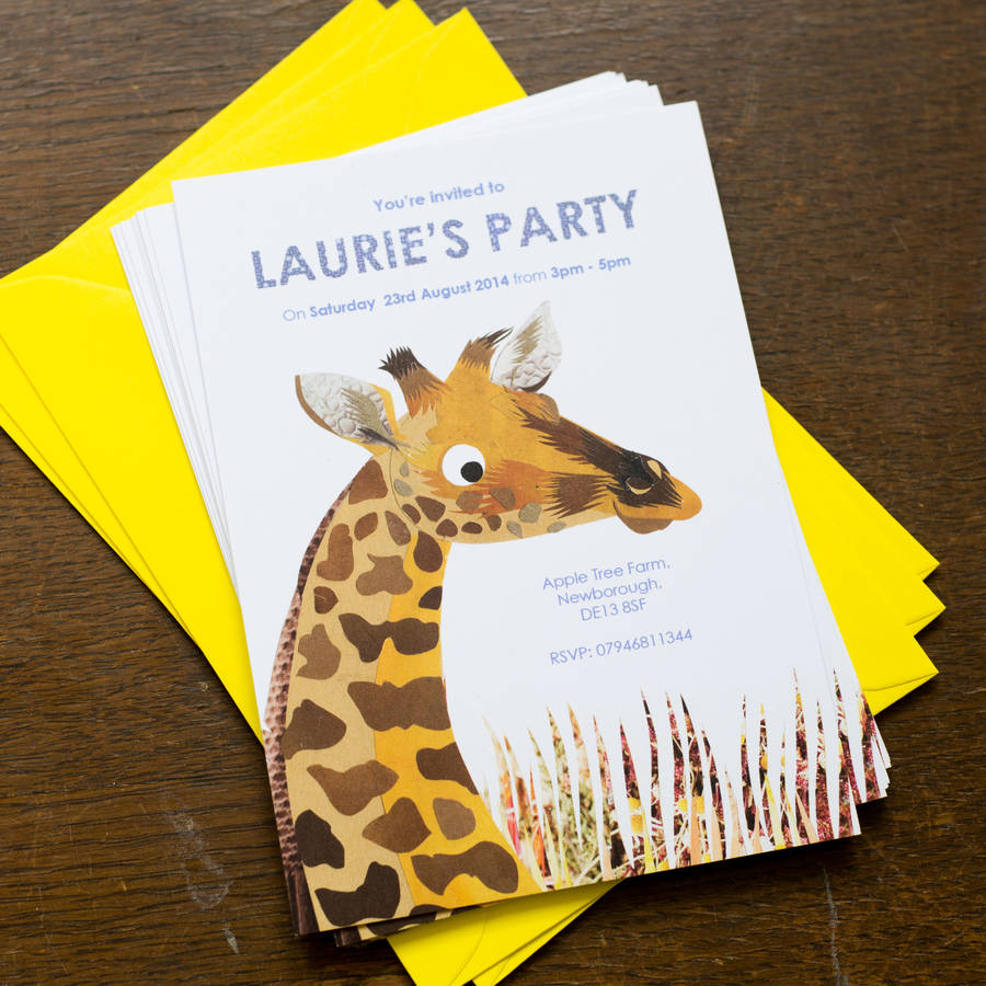 personalised childrens giraffe party invitations by kate slater – Giraffe Party Invitations