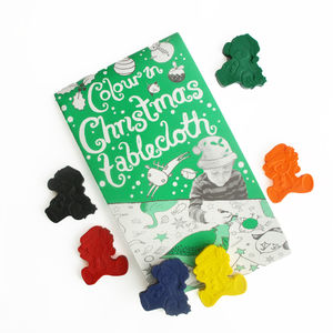 Colour In Christmas Tablecloth And Crayon Set - decoration making kits