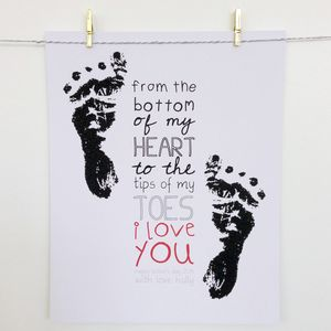 'Tips Of My Toes' Personalised Print