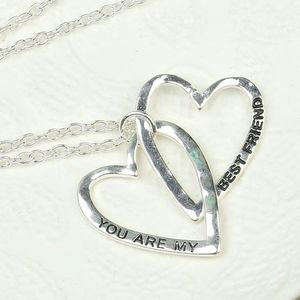 You Are My Best Friend Silver Linked Heart Necklace - jewellery gifts for friends