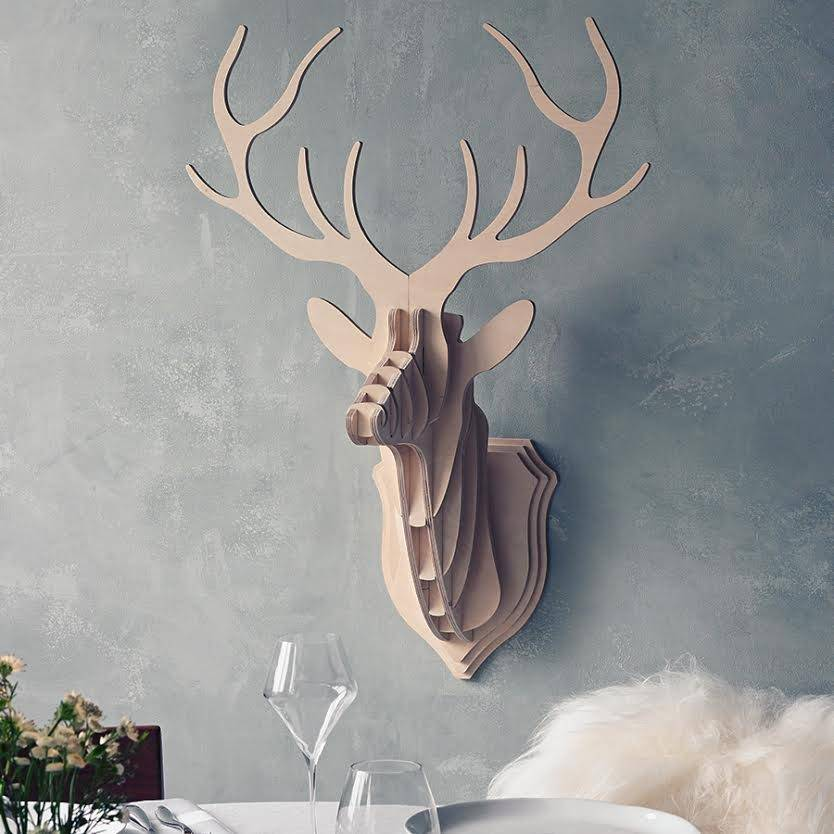 Wooden Deer Head Wall Trophy By Clive Roddy