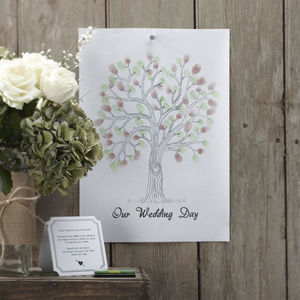 Brown And Green Wedding Fingerprint Tree - guest books
