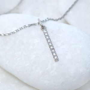 Pavé Diamond Bar Pendant In 18ct Gold - diamonds