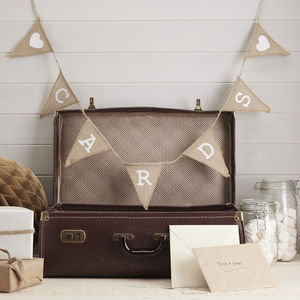 Vintage Style Hessian Cards Bunting - room decorations