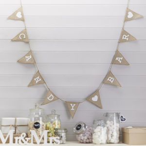 Vintage Style Hessian Burlap Candy Bar Bunting - outdoor decorations
