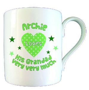 Personalised Love Heart Grandad Mug