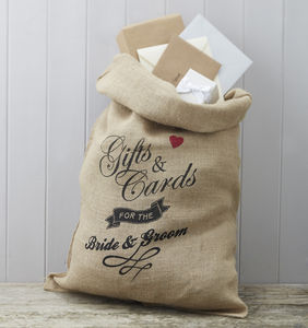 Hessian Cards And Gifts Mr And Mrs Wedding Sack - room decorations