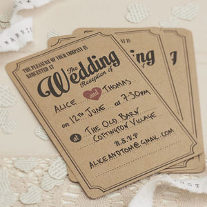 Brown Kraft Vintage Evening Wedding Invitations - wedding stationery