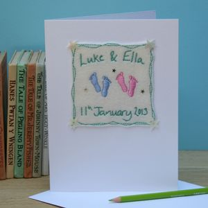 Personalised Embroidered New Baby Twins Card - new baby cards