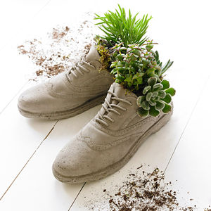 Concrete Brogue Shoes Plant Pots - the secret garden