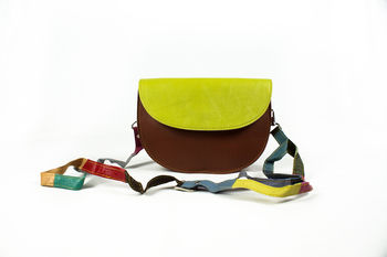Recycled Leather Half Moon Handbag
