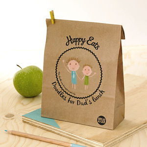 Set Of Ten 'Happy Eats' Lunch Bags