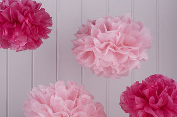 Pack Of Five Dark And Light Pink Tissue Paper Pom Poms