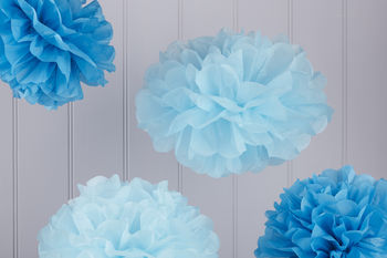 Pack Of Five Blue Tissue Paper Pom Poms
