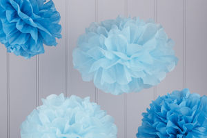 Pack Of Five Blue Tissue Paper Pom Poms - hanging decorations